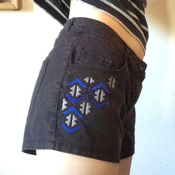 H&M Pants - H&M Tribal Embroidery Black Blue Grey Denim Shorts